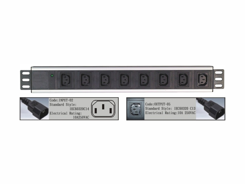 19 inch IEC C13 outlet PDU with indicator